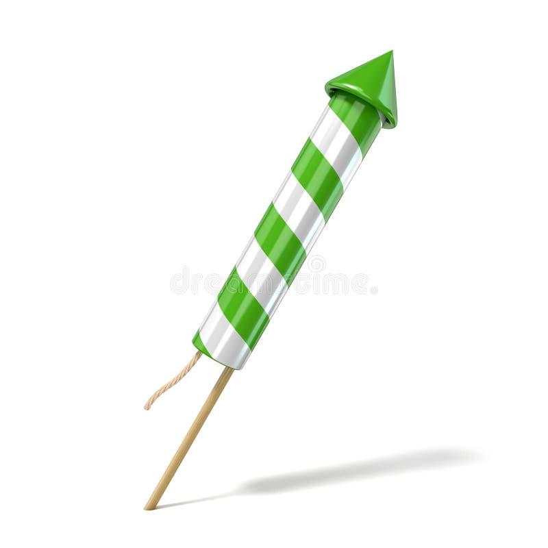 Green fireworks rocket. 3D render royalty free illustration