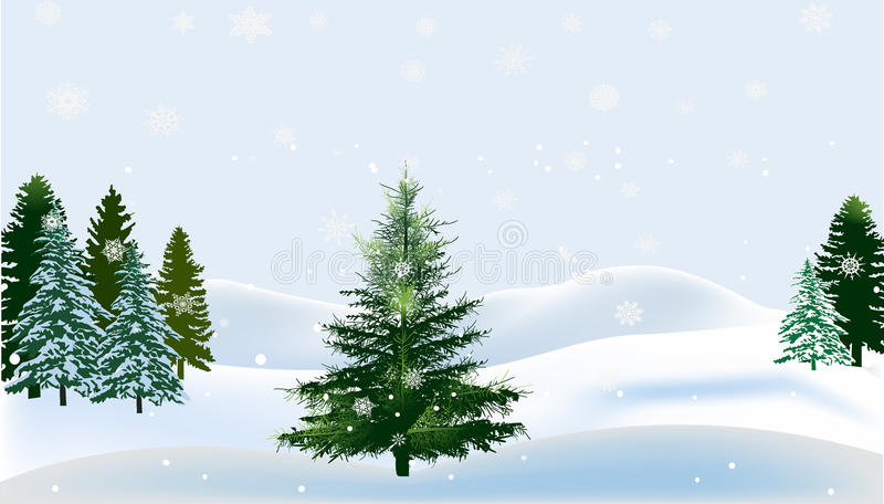 Green firs in white snow vector illustration