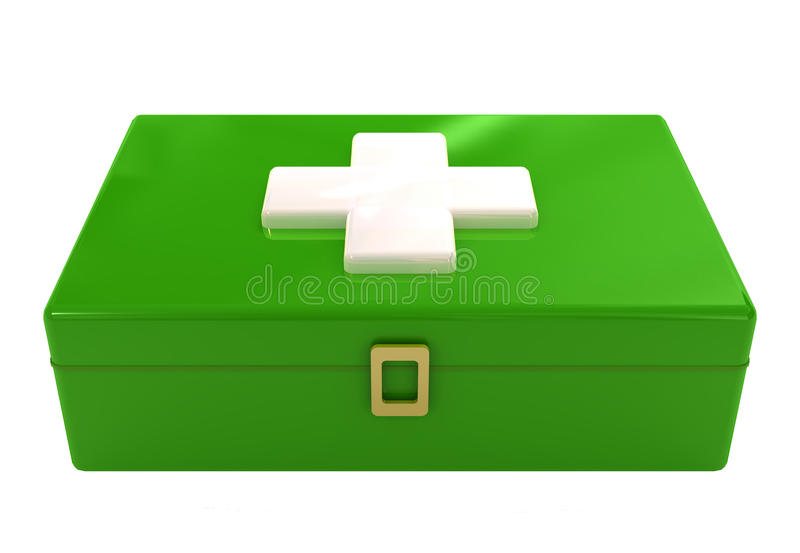 Green first aid box kit sign stock image