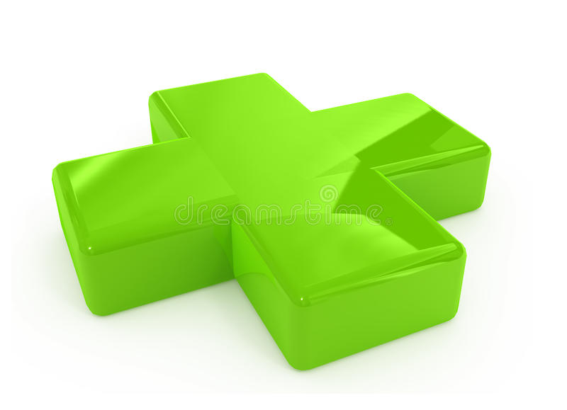 Green first aid cross sign stock image