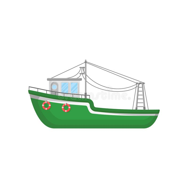 Green fishing trawler. Ship for industrial seafood production. Big boat with lifebuoys. Flat vector icon of marine. Green fishing trawler. Ship for industrial vector illustration