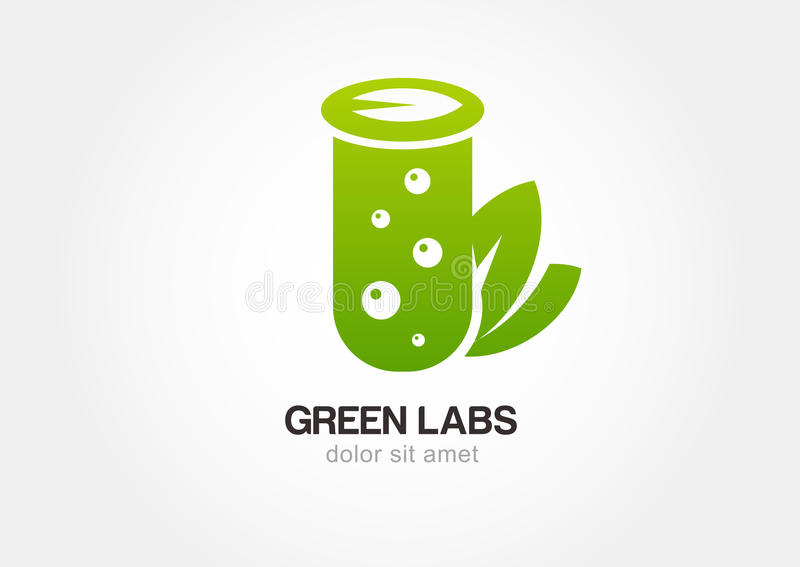 Green flask with leaves, lab icon. Vector logo design template royalty free illustration