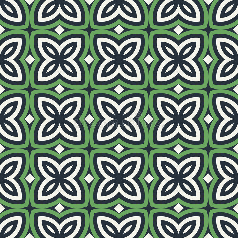 Green floral abstract background. Seamless pattern with symmetric geometric ornament. royalty free illustration