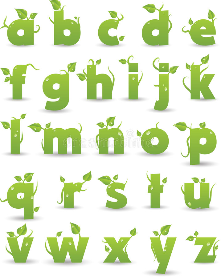 Green floral alphabet vector illustration