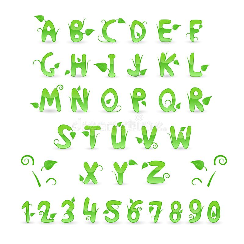 Green Floral Alphabet and Numbers stock photography