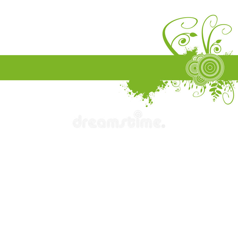 Green Floral Banner Template. A green floral design over pure white background. Fully scalable illustration