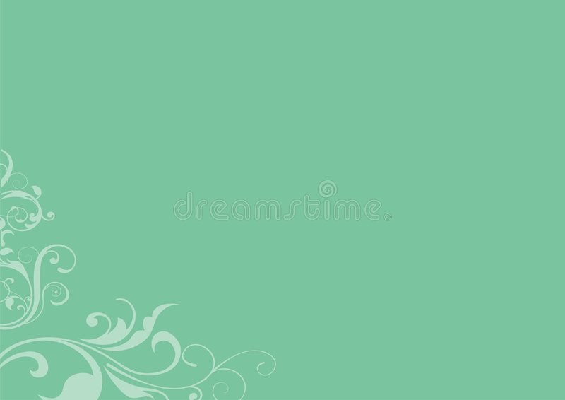 Green floral design background. Soft green background with a swirling floral design in the bottom corner stock illustration