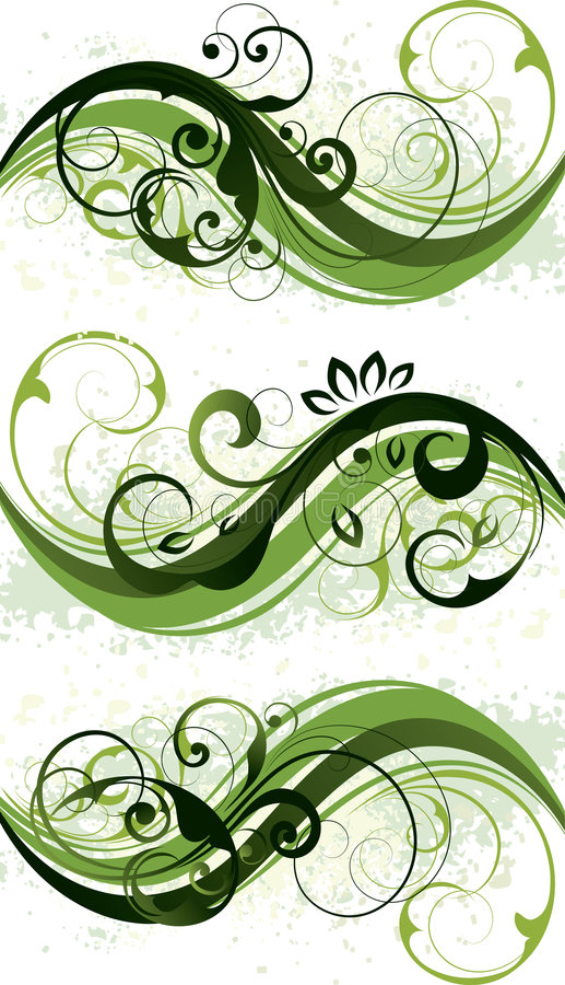 Green Floral Designs royalty free illustration