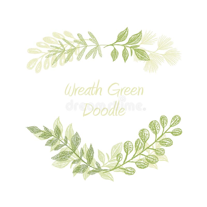 Free Green Floral Doodle Branch Border Stock Photography - 123575952
