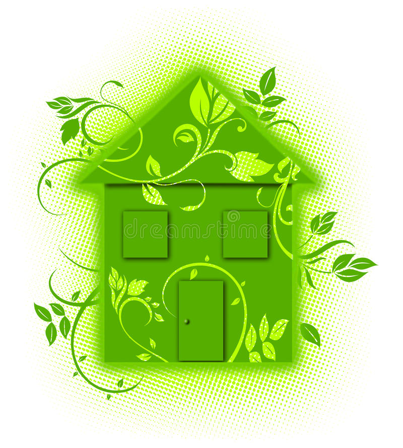 Green floral eco house royalty free stock photo