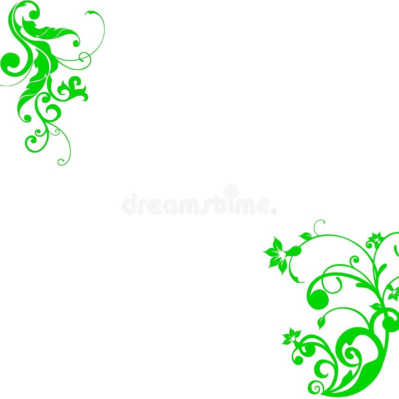 GREEN FLORAL ELEMENTS ABSTRACT. Bright green floral elements on white background royalty free illustration