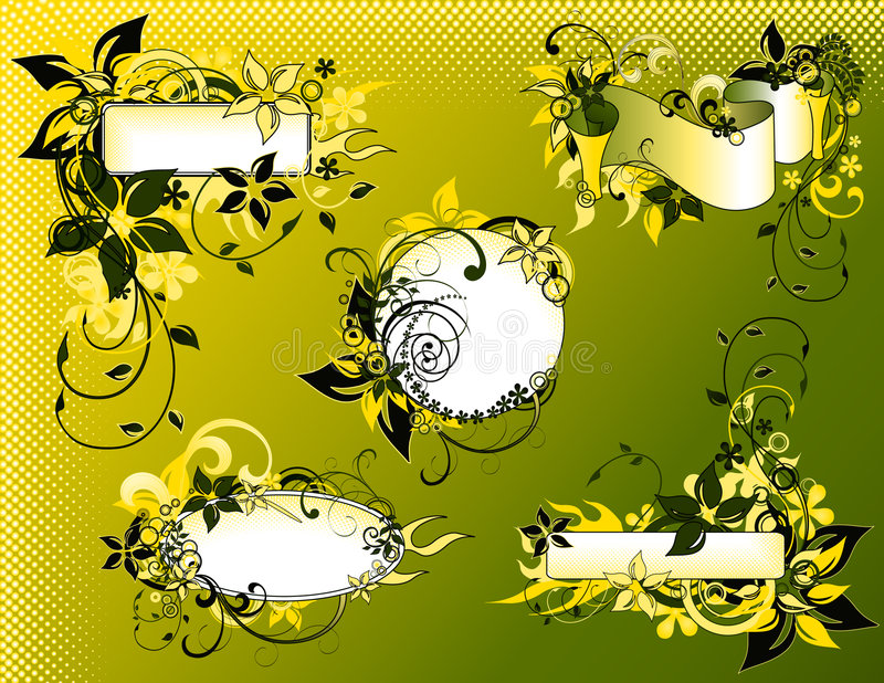 Green_floral_frame_collection vector illustratie