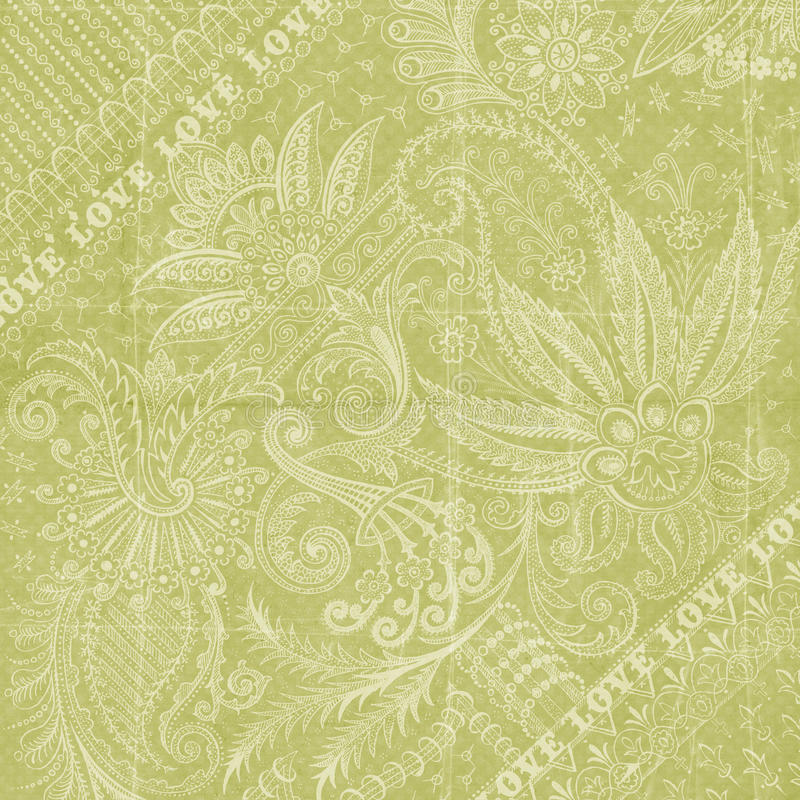 Green floral love background scrapbook paper. Pastel green floral background or scrapbook paper with love text
