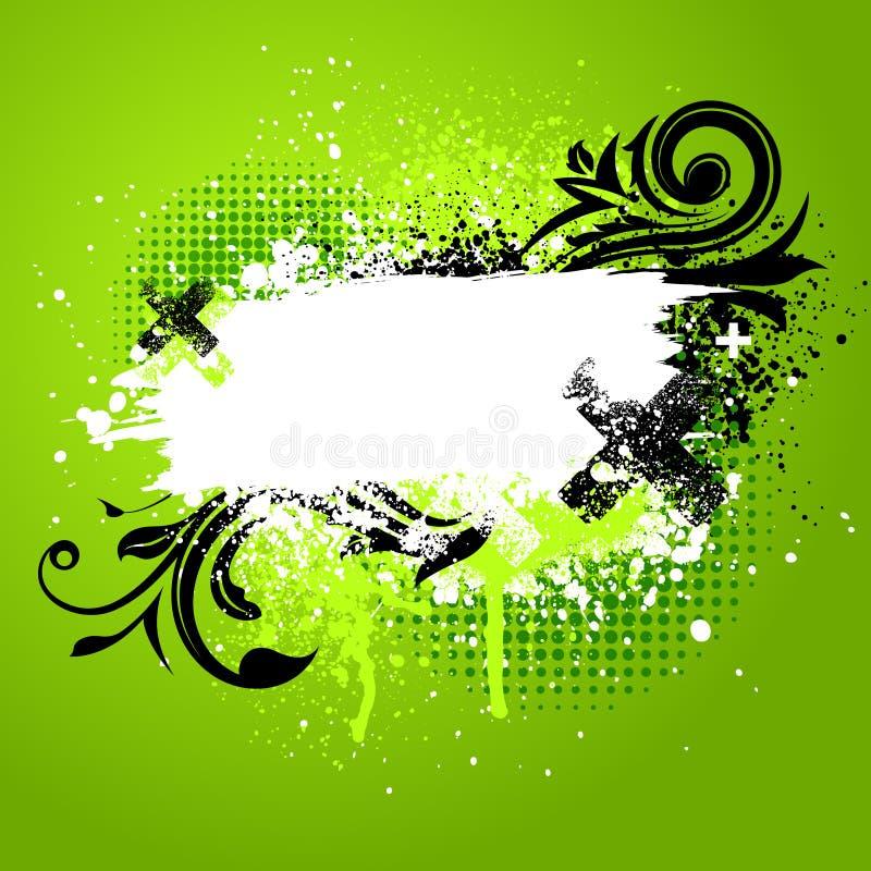 Green floral paint splatter royalty free illustration