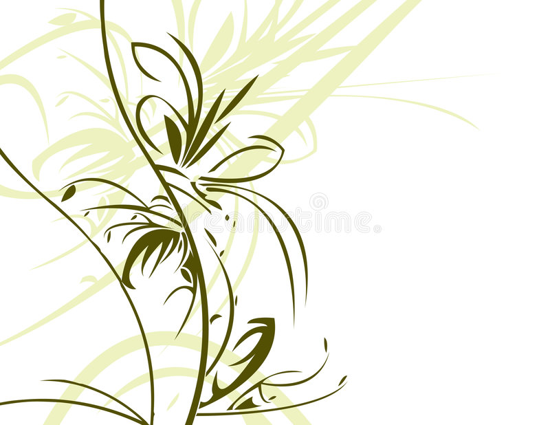Green floral on white backgrou stock illustration