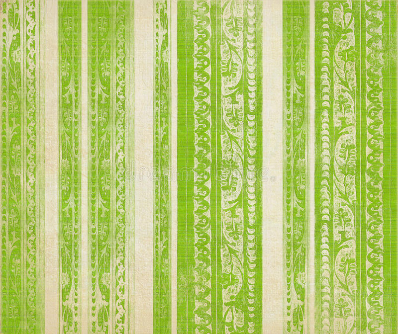 Green floral wood carved stripes. Green and white floral wood carved stripes royalty free stock images