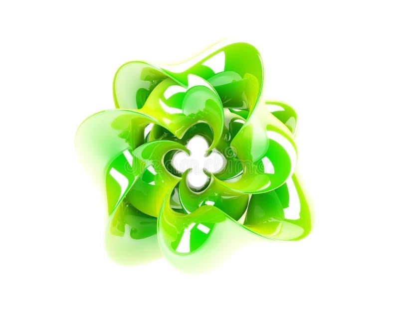 Green flower. 3d image of green techno flower royalty free illustration