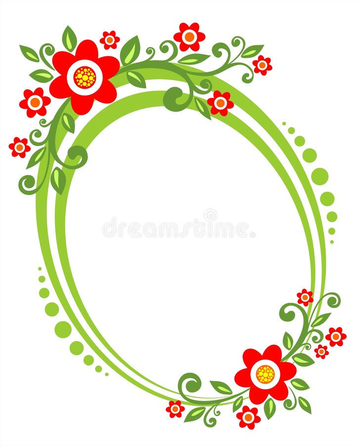 Green flower border vector illustration