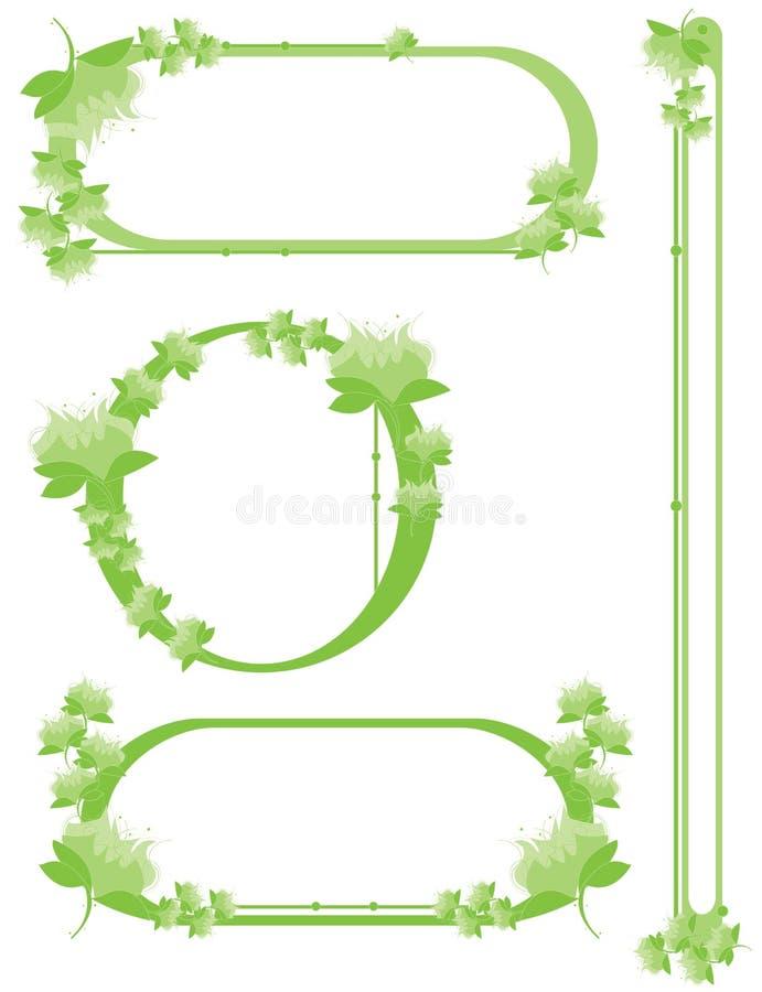 Green flower border set vector illustration