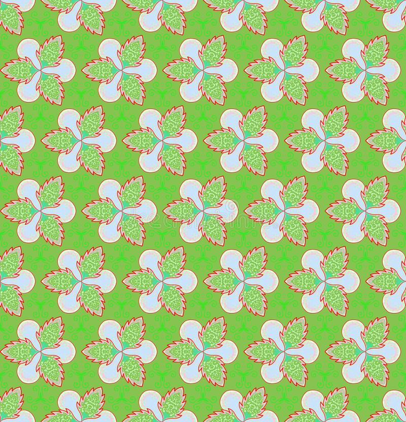 Green flower and ivy on green background Christmas seamless patterns royalty free stock image