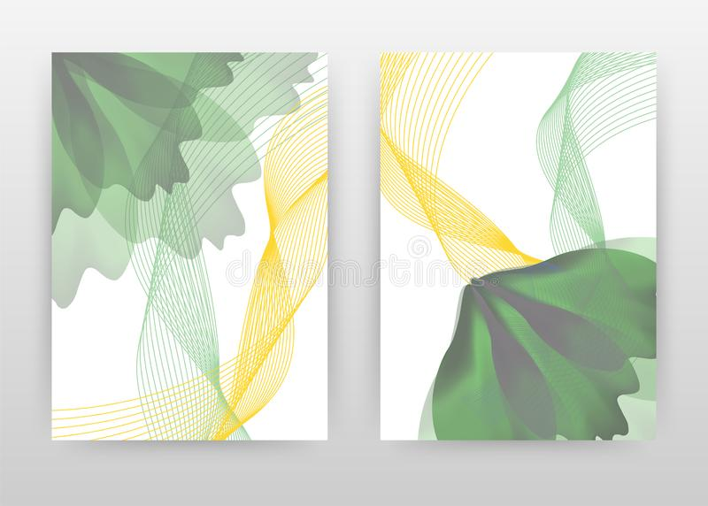 Green flower petal and yellow waved lines design for annual report, brochure, flyer, poster. Abstract background vector. Illustration for flyer, leaflet, poster vector illustration