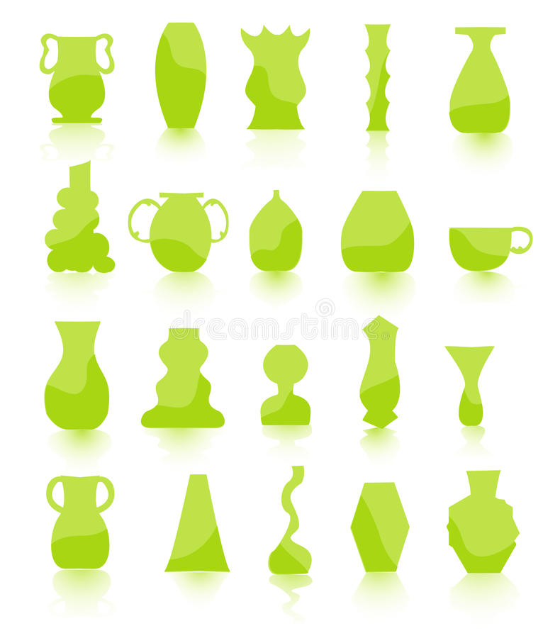 Green Flower pots. Set of green Flower pots royalty free illustration