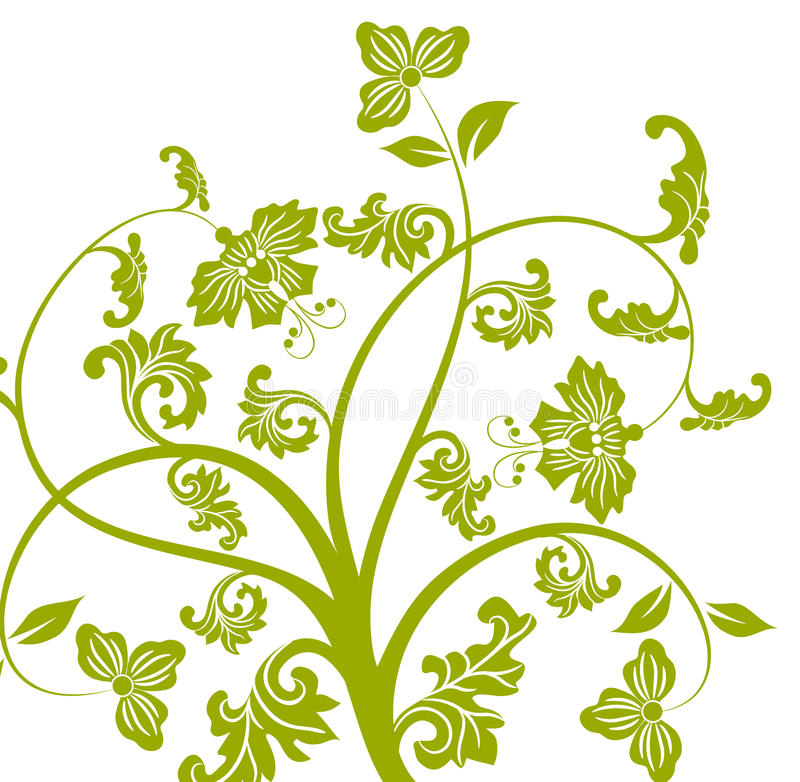 Download Green Flower And Vines Pattern Royalty Free Stock Images - Image: 12912419