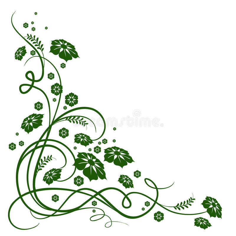 Green flower and vines pattern vector illustration
