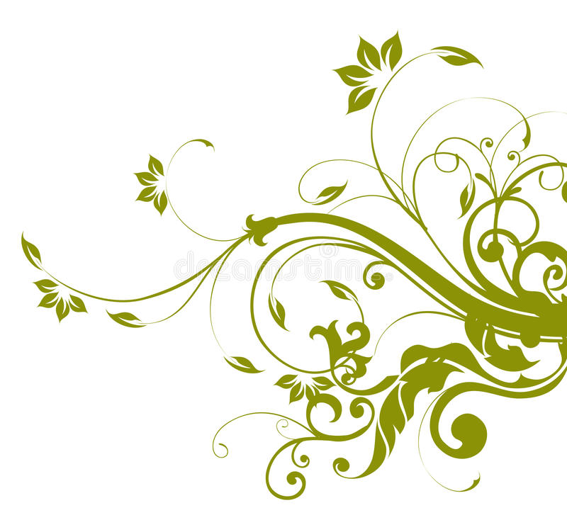 Green flower and vines pattern vector illustration