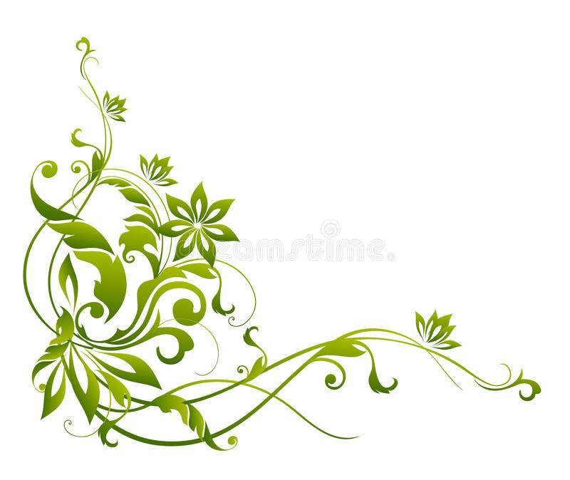 Download Green Flower And Vines Pattern Stock Illustration - Image: 13121247