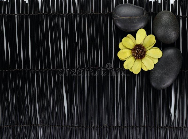 Green flower with zen stones on black background.  stock photo