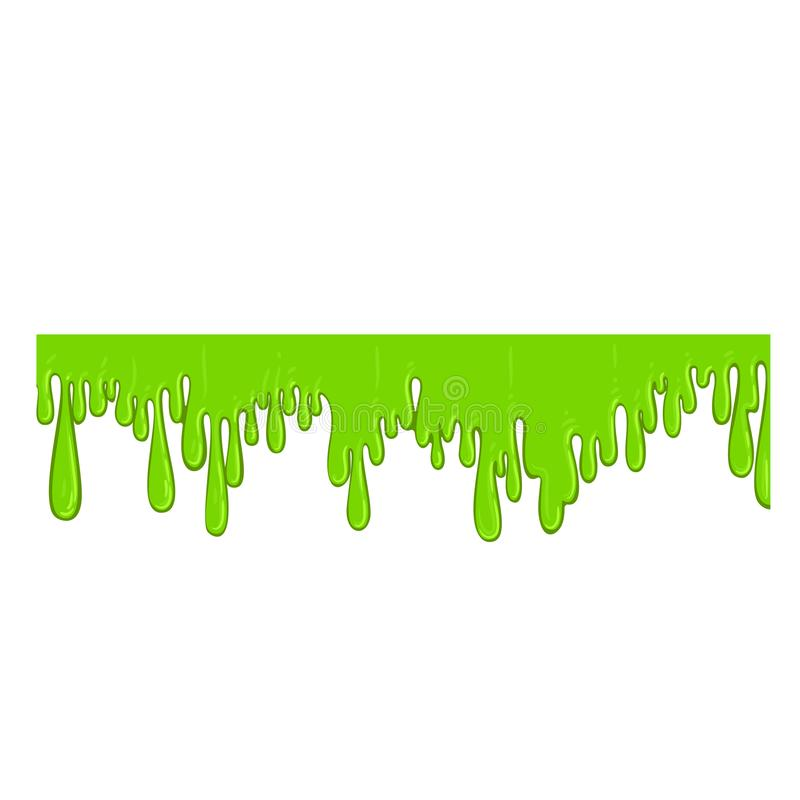 Green flowing slime icon, spooky halloween decoration. Vector flat style cartoon illustration isolated on white background stock illustration