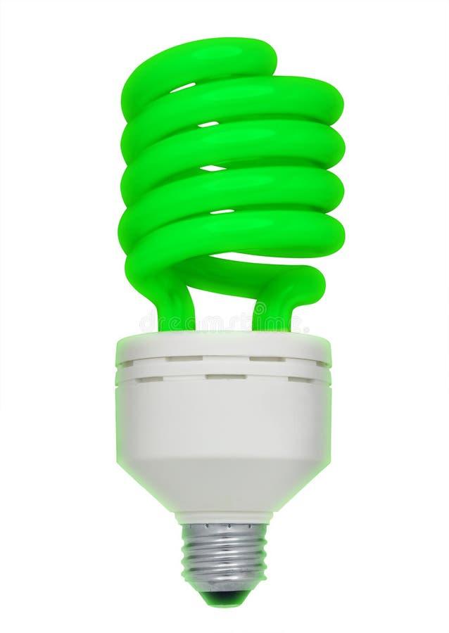 Green fluorescent light bulb, isolated