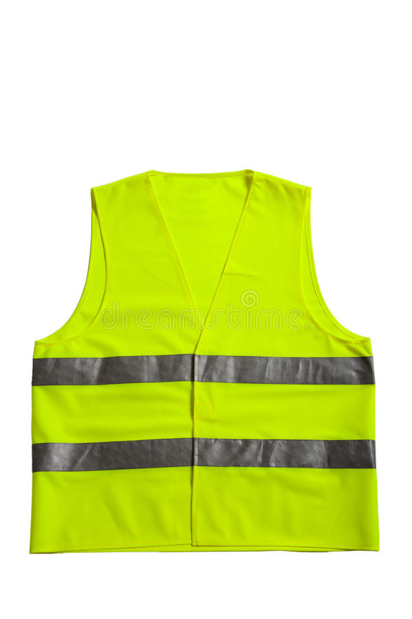 Green fluorescent vest. A green fluorescent vest isolated on a white background royalty free stock photos