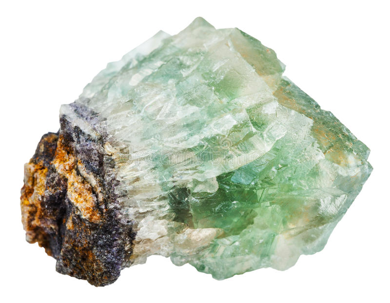 Green fluorite crystals isolated on white stock photography