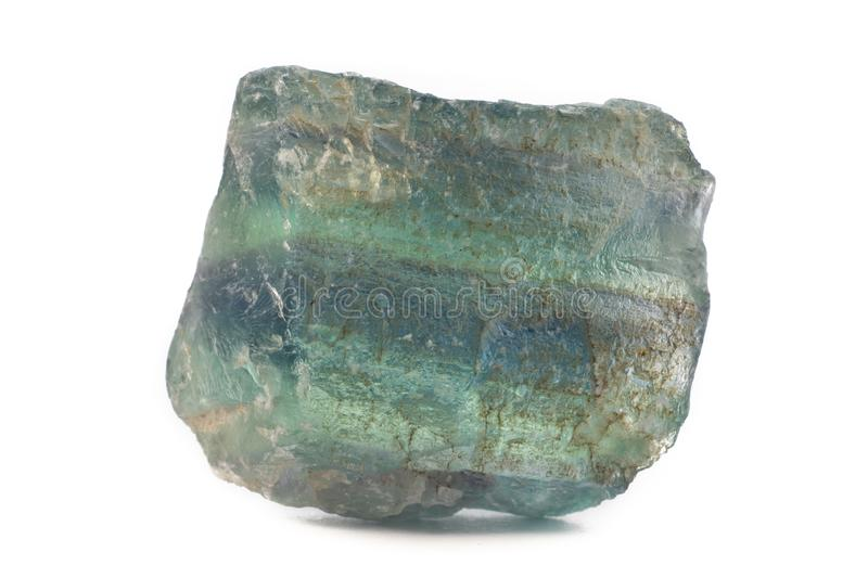 Green fluorite mineral from China isolated on a pure white background stock image