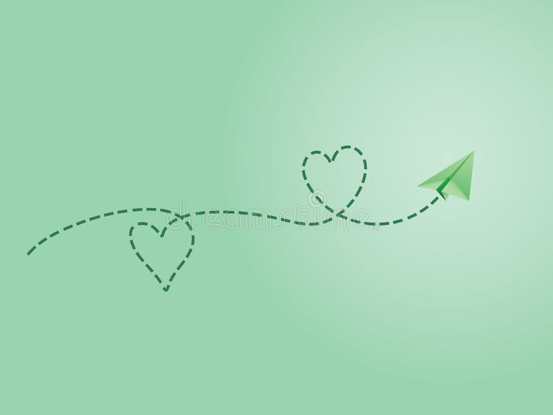 A green folded paper plane making love sign route to show happy travel emotion. Vector illustration vector illustration