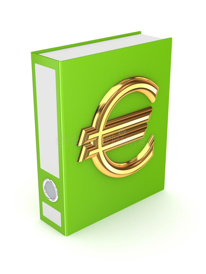 Green folder with golden symbol of euro. stock illustration