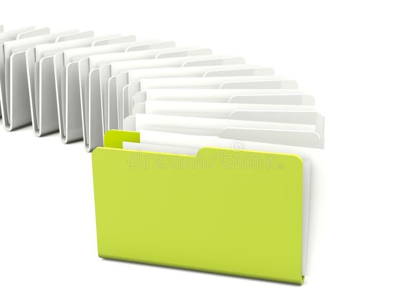 Green folder in a row vector illustration