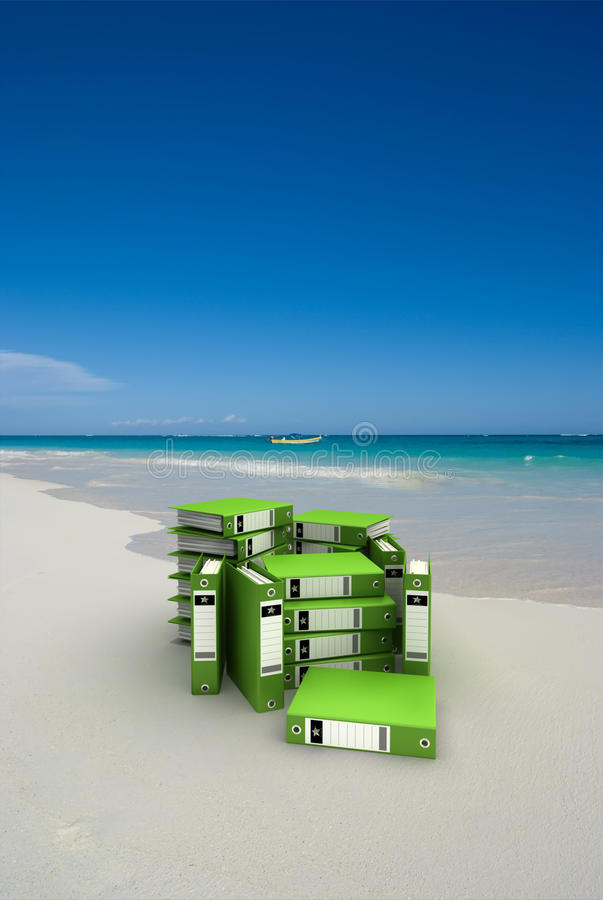 Download Green folders on the beach stock image. Image of bile - 12587905