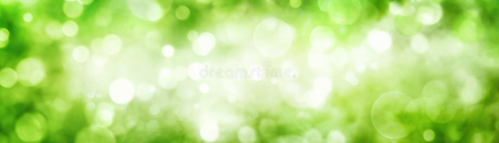 Green foliage bokeh with shimmering highlights. Panoramic background of green foliage bokeh with beautiful shimmering highlights stock images