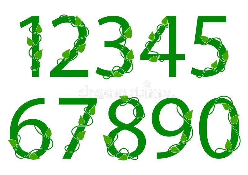 Green font numbers from 1 to 0 with leaves. Vector illustration. Green font numbers from 1 to 0 with leaves. Nature style. Vector illustration vector illustration
