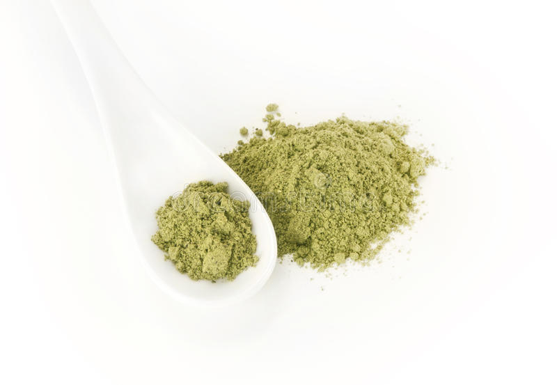 Green food. Green protein food powder mix royalty free stock images