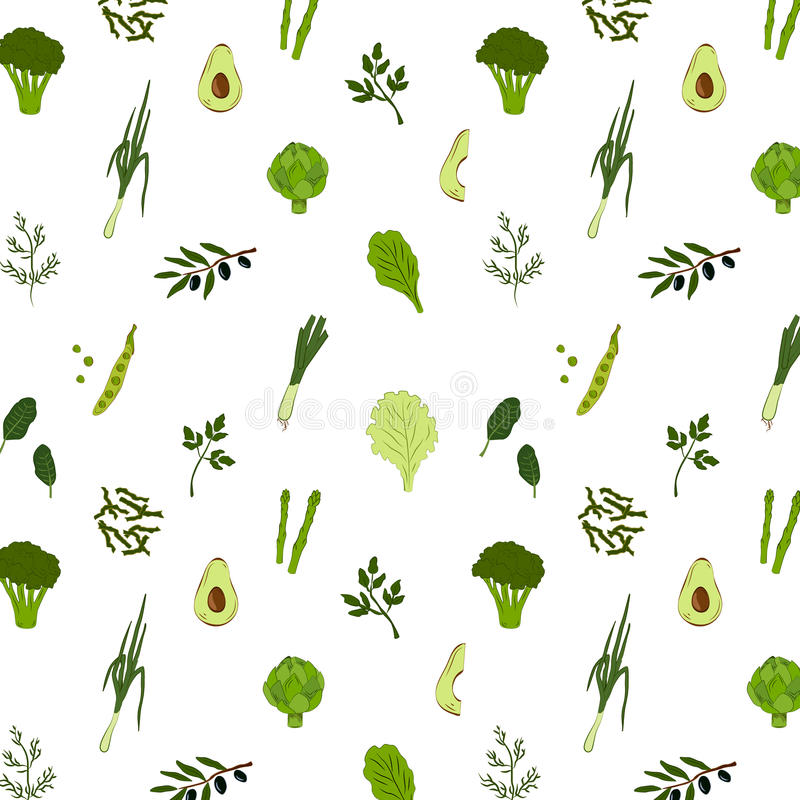 Green food seamless pattern royalty free stock images