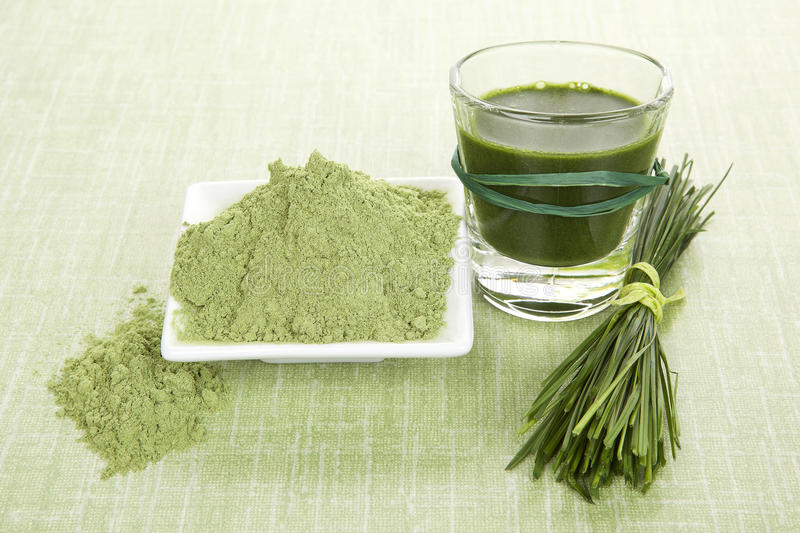 Green food supplements. stock image