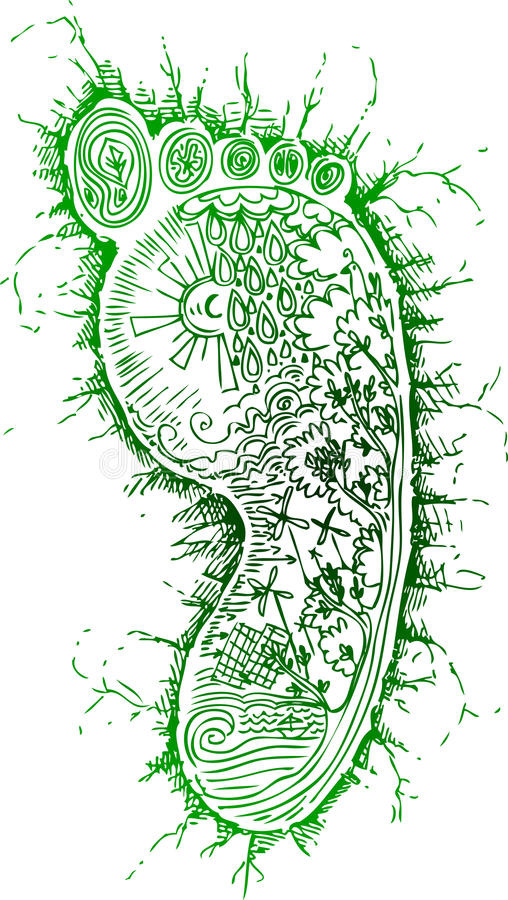 Green footprint vector royalty free stock photography