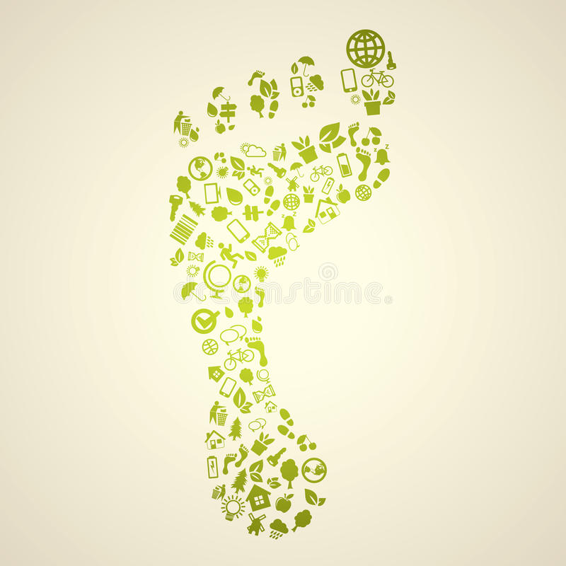 Green footprint. Made of small icons vector illustration