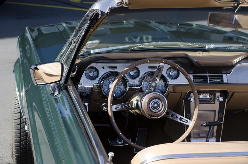 Green Ford Mustang in a Car Show stock images