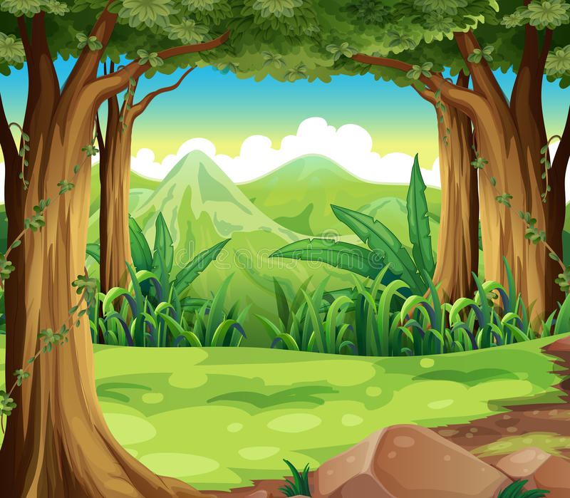 A green forest across the high mountains royalty free illustration