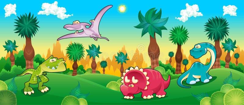 Green forest with dinosaurs. Vector cartoon illustration vector illustration